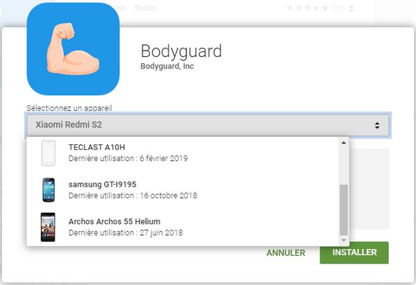 captures d'écran application BodyGuard sur Apple Store, Google Play et de notre smartphone @ Tests et Bons Plans