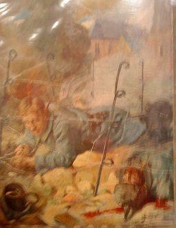 """Photos de portable : """"Soldats de 1915 : le coupeur de fil de fer; le petit moment de répit; le lanceur de grenades.""""  Les personnalités lors de l'inauguration."""