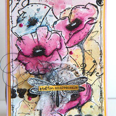 Carte multi-fleurs aquarellées