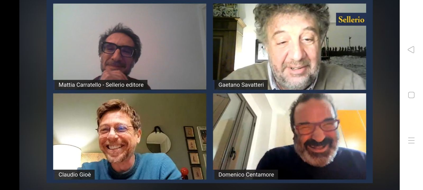 Lors de la rencontre en ligne proposée par Sellerio Editore mercredi en fin de journée.