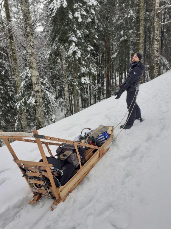 Test traîneau et raquettes à neige Pyrénées 2020
