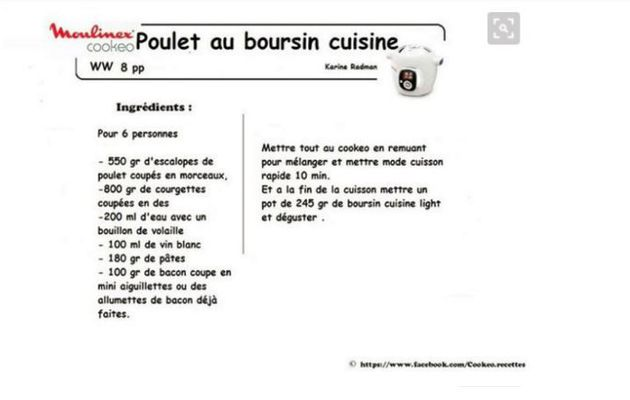 Poulet Boursin cookeo weight watchers