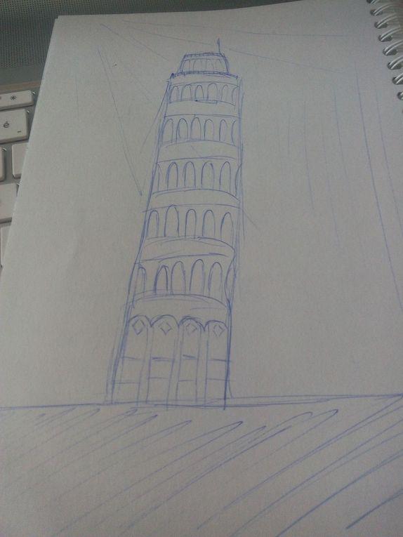 1) une Vespa - 2) bâtiment à gauche de la mairie de Livourne - 3) la chambre où je dormais - 4) la tour de Pise - 5) la cathédrale San Martino, Lucca et les boules des Médicis - 6) Représentation du cliché de la tour de Pise - 7) Représentation du cliché de l'Italie - 8) Camilla :) - 9) L'intérieur du musée à Florence