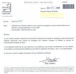 Les comptes de la liste Saint-Germain Solidaire ont été approuvés