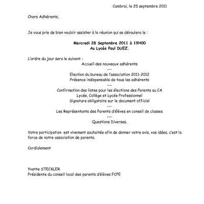 Invitation Réunion du 28 septembre 2011