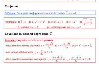 TERMINALE - Nombres Complexes - Propriété - Affixe - Conjugé - Equations du second degré - Module et Argument