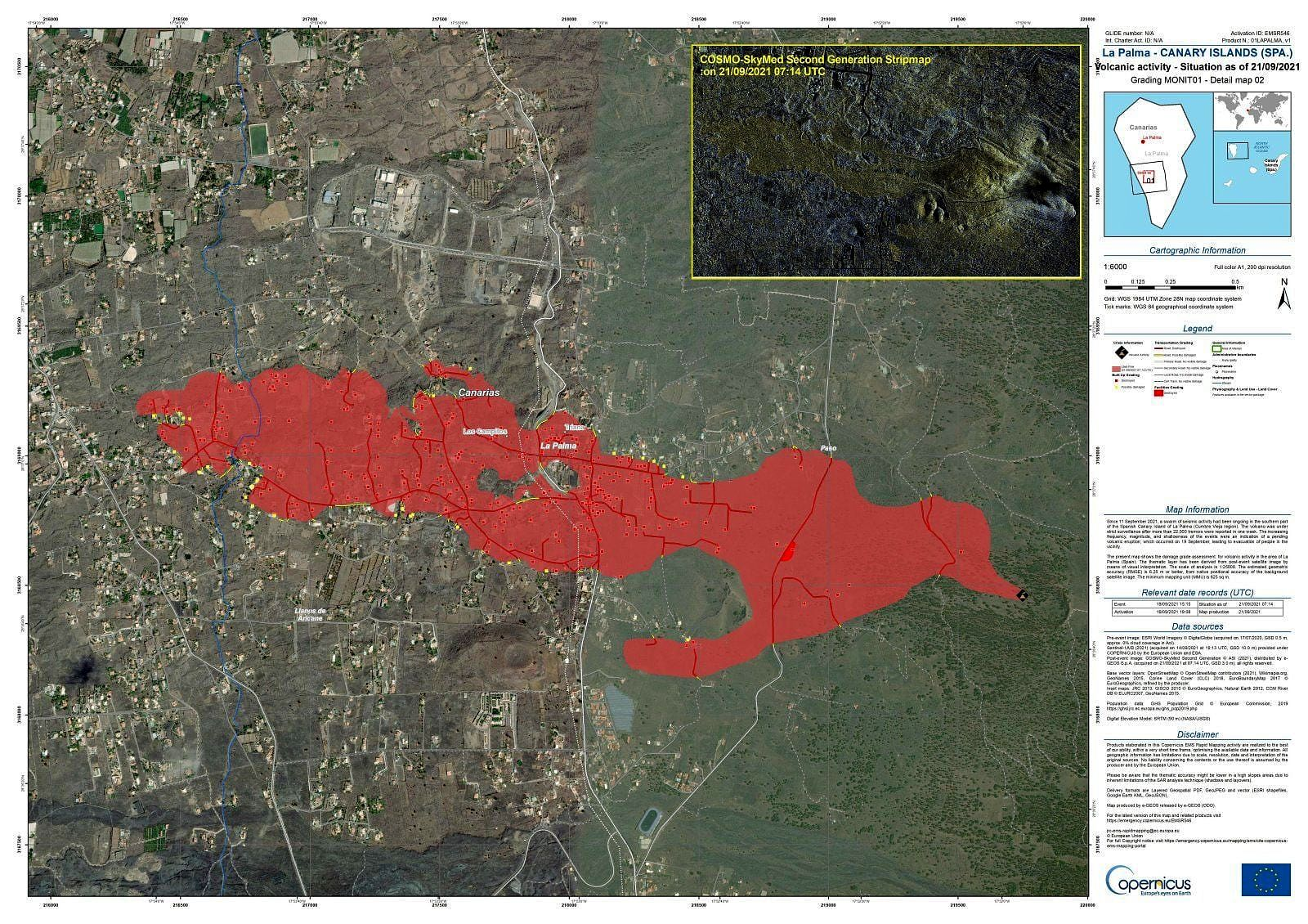 La Palma - The area affected by the lava flows reaches 154 hectares (source Copernicus EMS - 22.09.2021) - click to enlarge