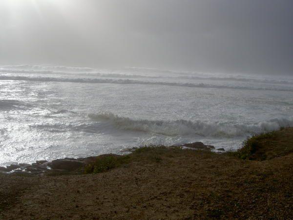 Le vent Nord souffle à 110 km/h  Il éparpille la crête des vagues  Des creux de 4 mètres  L'océan est blanc  C'est magnifique !  OLD