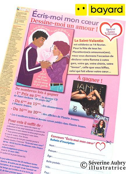 Illustration presse de présentation pour un concours St Valentin - Planète jeunes - Bayard (Afrique francophone) - 2007