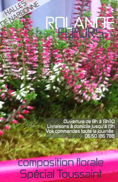 Bouquets de fleurs pour les fêtes de la Toussaint et 1er novembre, compositions et décorations florales et végétales pour honorer nos défunts, Rolande fleuriste à Narbonne dans l'Aude en Languedoc Roussillon