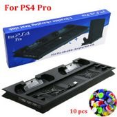 PS4 Pro Vertical Cooling Stand with 2 Controller Charging Dock Station for Playstation 4 PS4 Pro Console and Controller