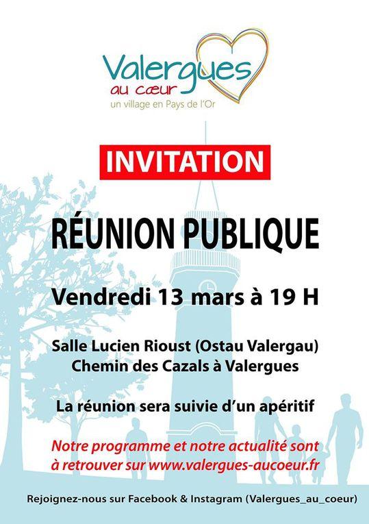 Les deux réunions publiques se tiendront salle Lucien Rioust à 19h. Avec vous pour Valergues jeudi 12 mars et Valergues au Coeur vendredi 13 mars