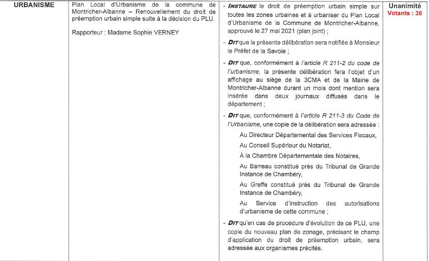 délibération 3CMA droit de préemption simple commune MONTRICHER ALBANNE