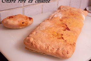 Pizza-chausson ricotta/petits pois/jambon