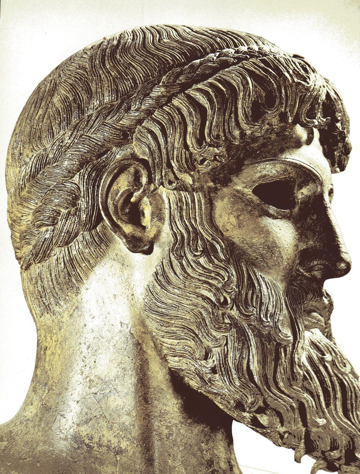 Tête de Zeus, Artémision, C. 460. Bronze. Musée National, Athènes.