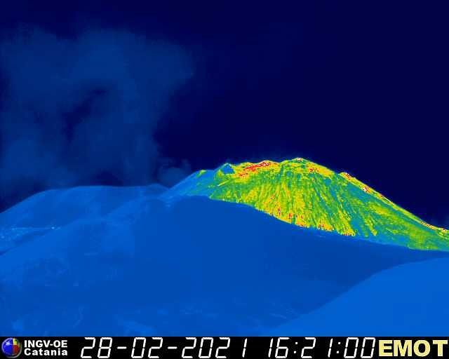 Etna - the flow and the projections cool, while the other craters degassing - webcam INGV Emot0327 on 02.28.2021 / 4:10 p.m.