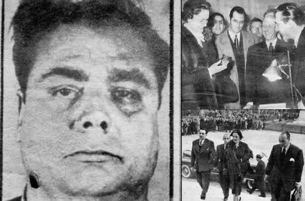 À l'été 1949, la figure de Roger Senanedj, que le Milieu surnomme le « Gros Roger » (à gauche), s'affiche dans toute la presse française suite au vol des bijoux de la Bégum. Aux côtés des enquêteurs, l'ancienne Miss France retrouve une partie des diamants dérobés.