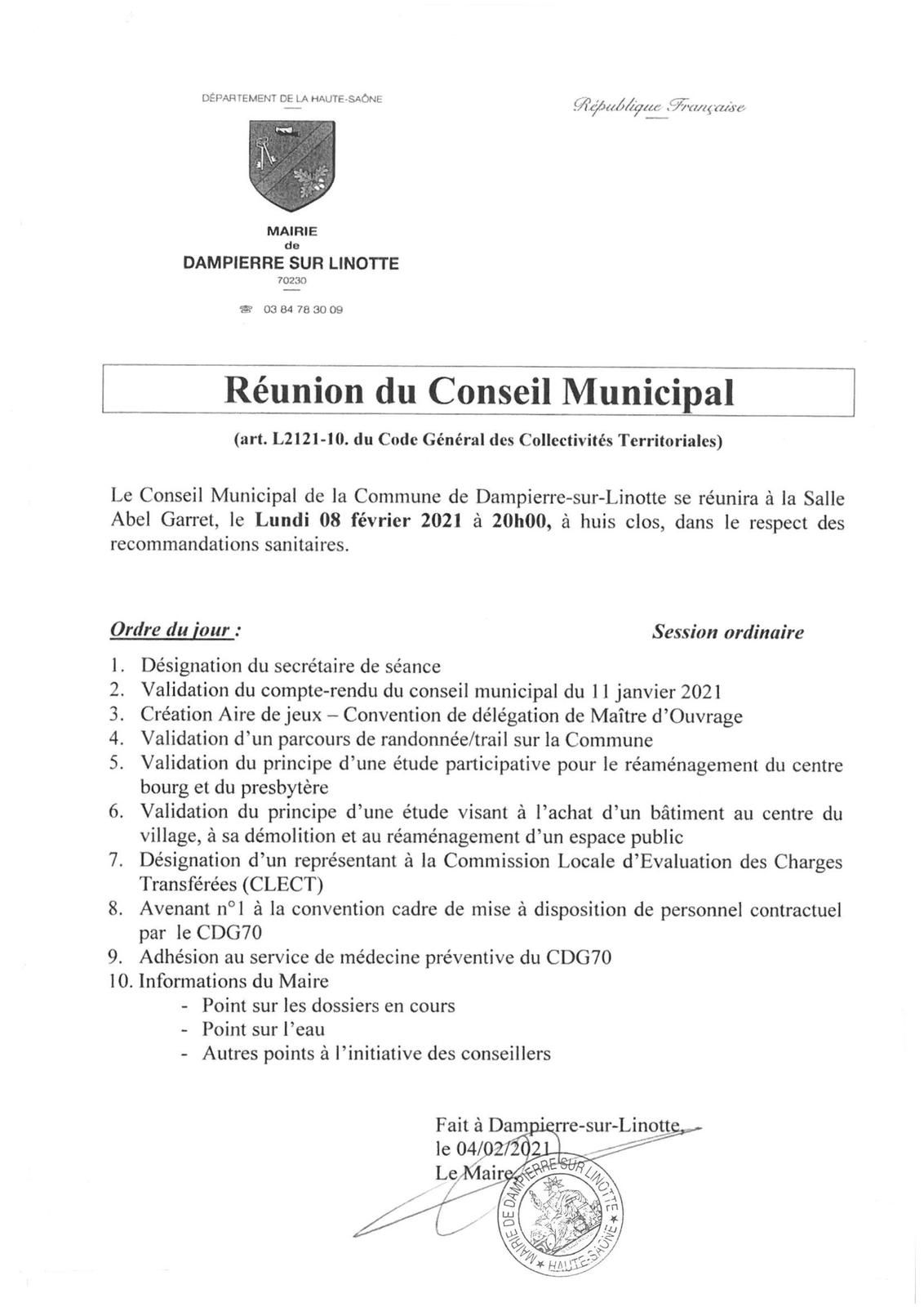 Conseil Municipal du 08 février 2021