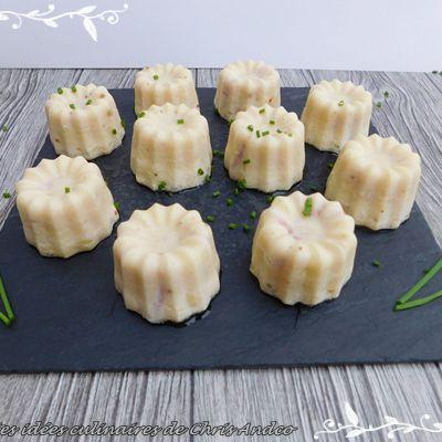 Cannelés au fromage de brebis, jambon & ciboulette