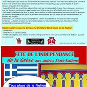 Invitation à la fête de l'indépendance de la Grèce et des autres nations, place de la Nation à Paris le 25 mars 2018 .