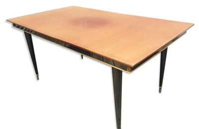 TABLE VINTAGE 1960 TECK LAQUE NOIRE ALLONGES 8/10 CONVIVES  - 260 euros