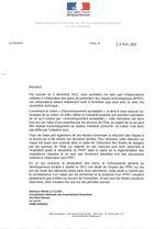 Réponse de Madame BATHO Ministre de L'écologie, au courrier du 3/12/2012 de la coordination
