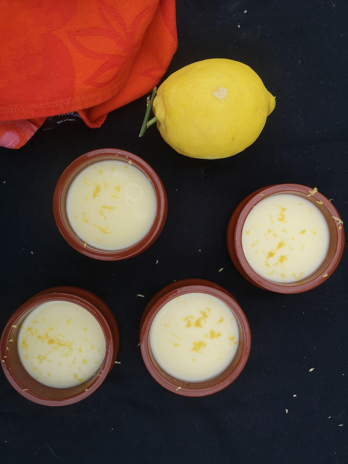 Crèmes dessert au citron sans oeufs