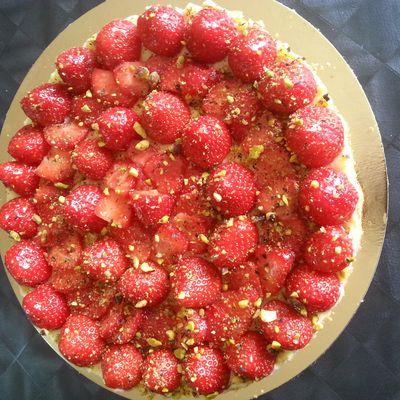Tarte craquante fraise-pistache