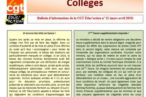 Bulletin d'informations Collèges Mars-Avril 2019