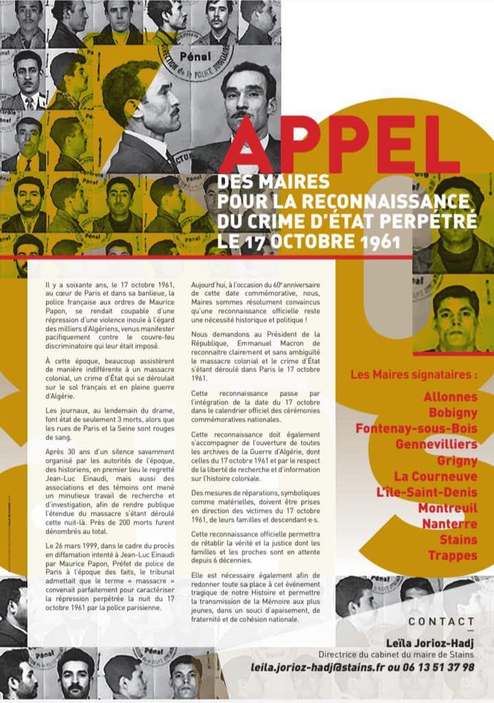 Cinq maires de Seine-Saint-Denis demandent la reconnaissance en crime d'Etat du 17 octobre 1961