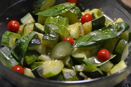 Salade chèvre courgettes  basilic cookeo