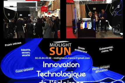 MIDLIGHTSUN-BATIMAT-éclairage innovant : fibre optique diffusante, tissu lumineux