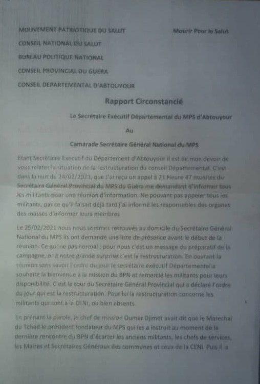 Guéra: les militants authentiques du MPS d'Abtouyour lésés, menacent de boycotter la présidentielle d'avril