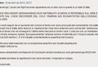 Nuovi particolari sul volo Germanwings AU9525: l'audio della scatola nera diffuso attraverso i media appartiene ad un altro incidente!