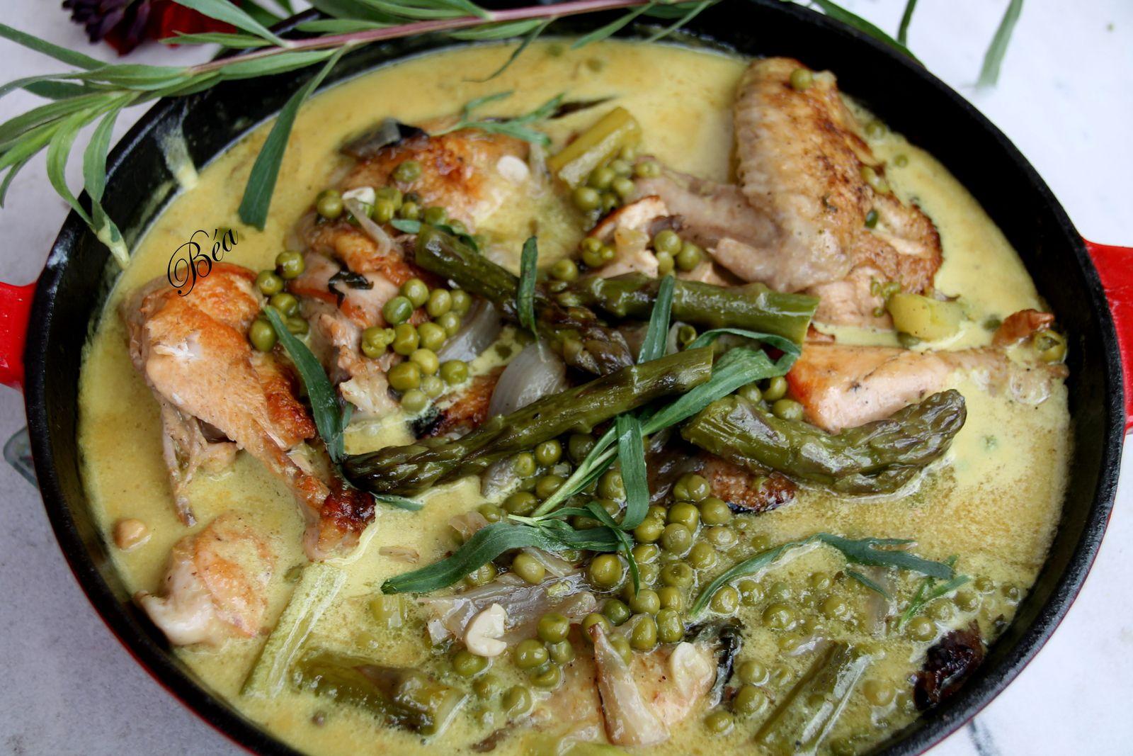 Poulet à l'estragon et aux légumes de printemps