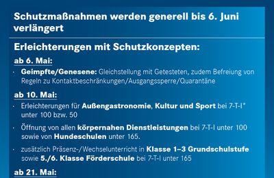Bayern verlängert Coronaschutzmaßnahmen bis 6. Juni 2021 - Stadt  Würzburg seit vier Tagen unter dem 100er Inzidenzwert
