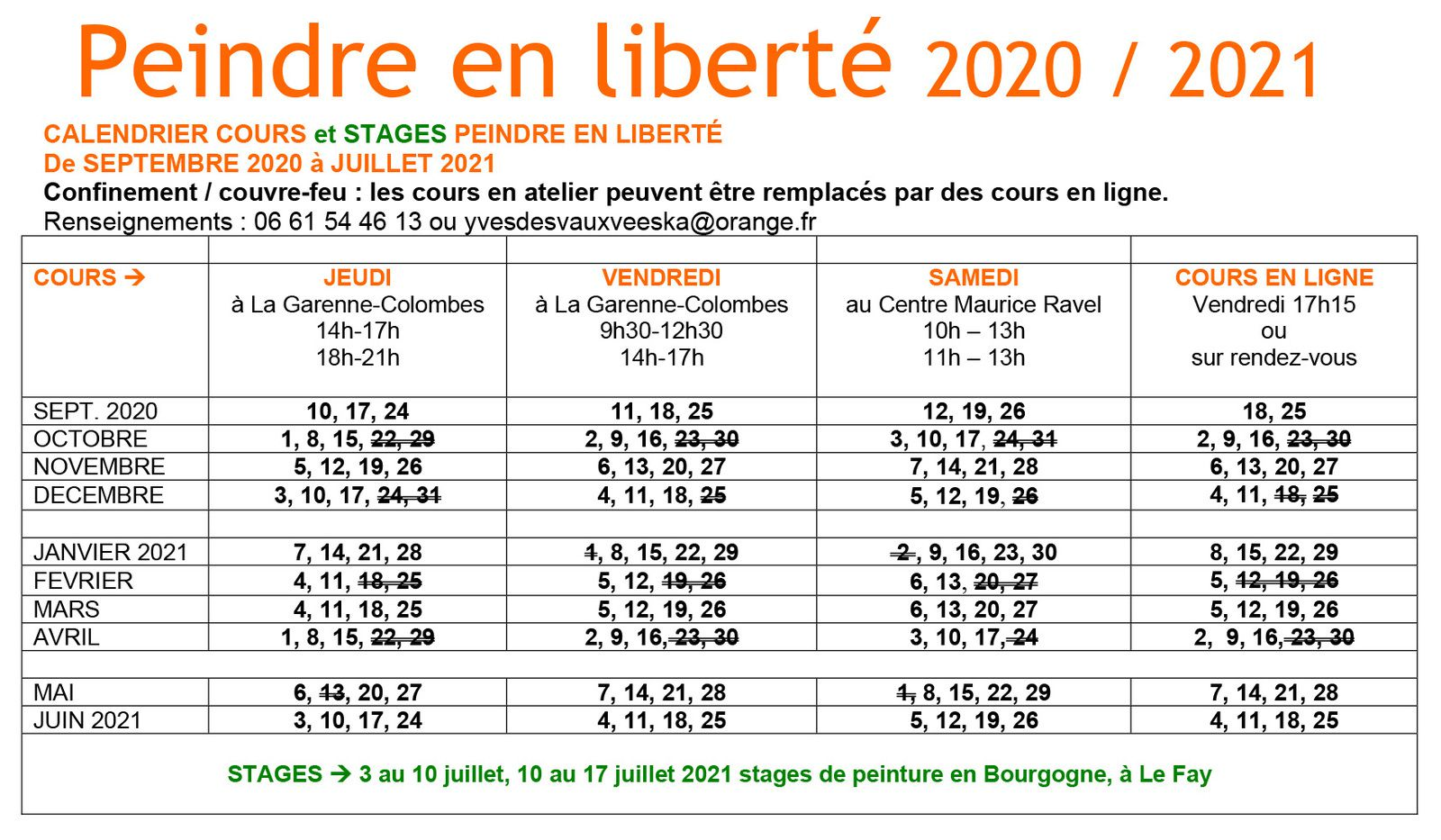 5. Calendrier cours et stages 2020 / 2021
