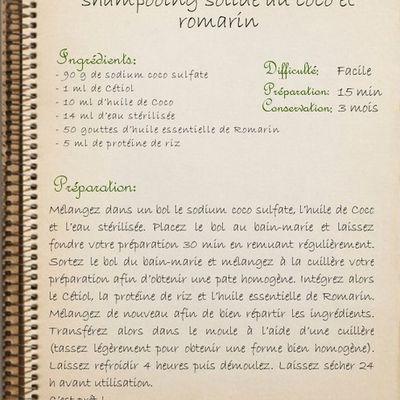 Shampoing solide au coco et au romarin