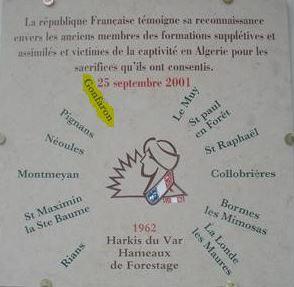 Harkis, inauguration d'un jardin du souvenir au hameau de forestage de Gonfaron (83)