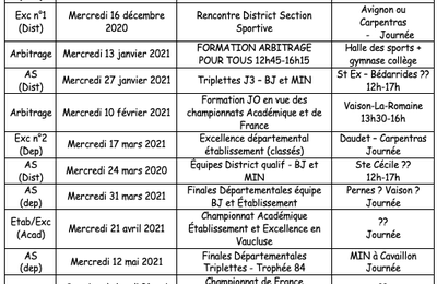 Calendrier AS Badminton 2020-2021
