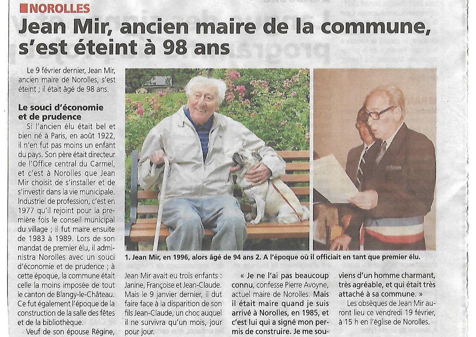 Décès de Mr Jean MIR ancien maire.