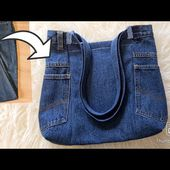 Jeans recycle bag tutorial/ Handbag from old jeans