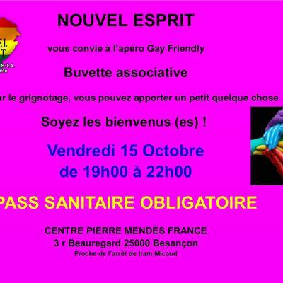 Apéro gay friendly vendredi 15 octobre