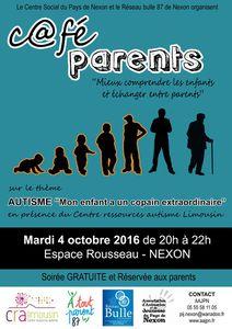 """Café parents Autisme """"Mon enfant a un copain extraordinaire"""" - MAR. 4 OCT. 2016 de 20h à 22h"""
