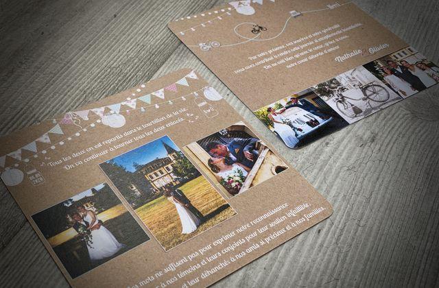 La carte de remerciements mariage de Nathalie & Olivier ... thème guinguette champêtre