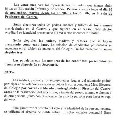 Nota Informativa-4/Nov10.-Elecciones Consejo Escolar.