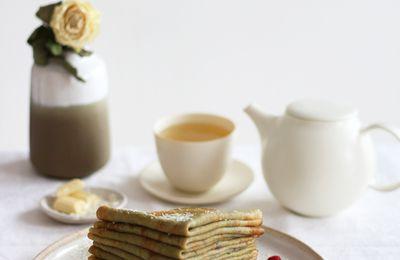 Crêpes au thé vert matcha & framboise