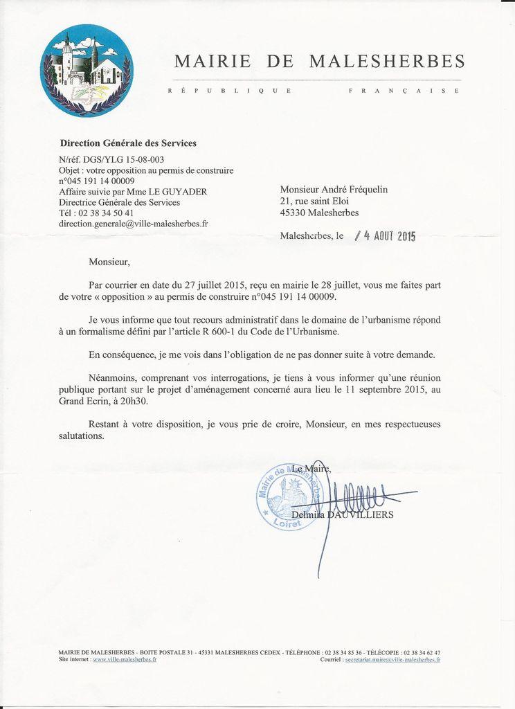 Lettre de Madame Le Maire