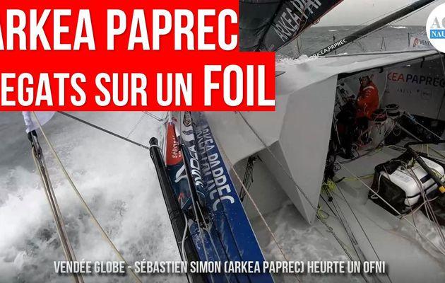 Vendée Globe 2020 - gros dégâts sur le foil tribord d'Arkea Paprec