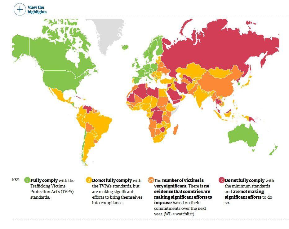 2 ) Carte de l'esclavage dans le monde d'aujourd'hui. Ce monde que Taubira a choisi d'ignorer.